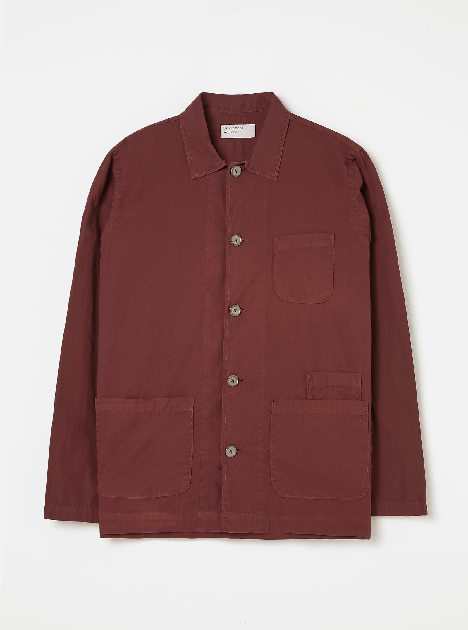 Universal Works Bakers Overshirt in Raisin Poplin