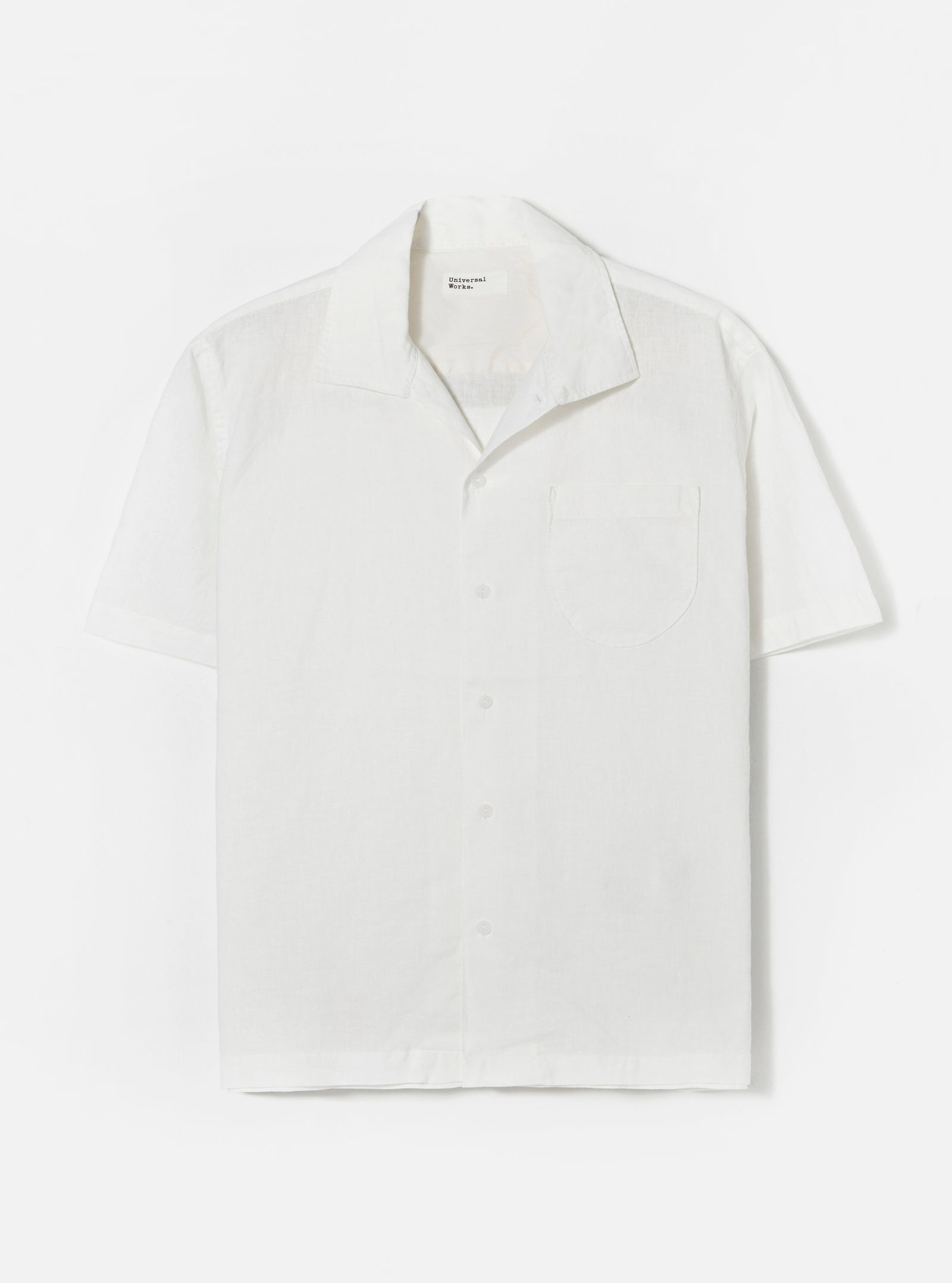 Universal Works Open Collar Shirt in Ecru Linen Shirting