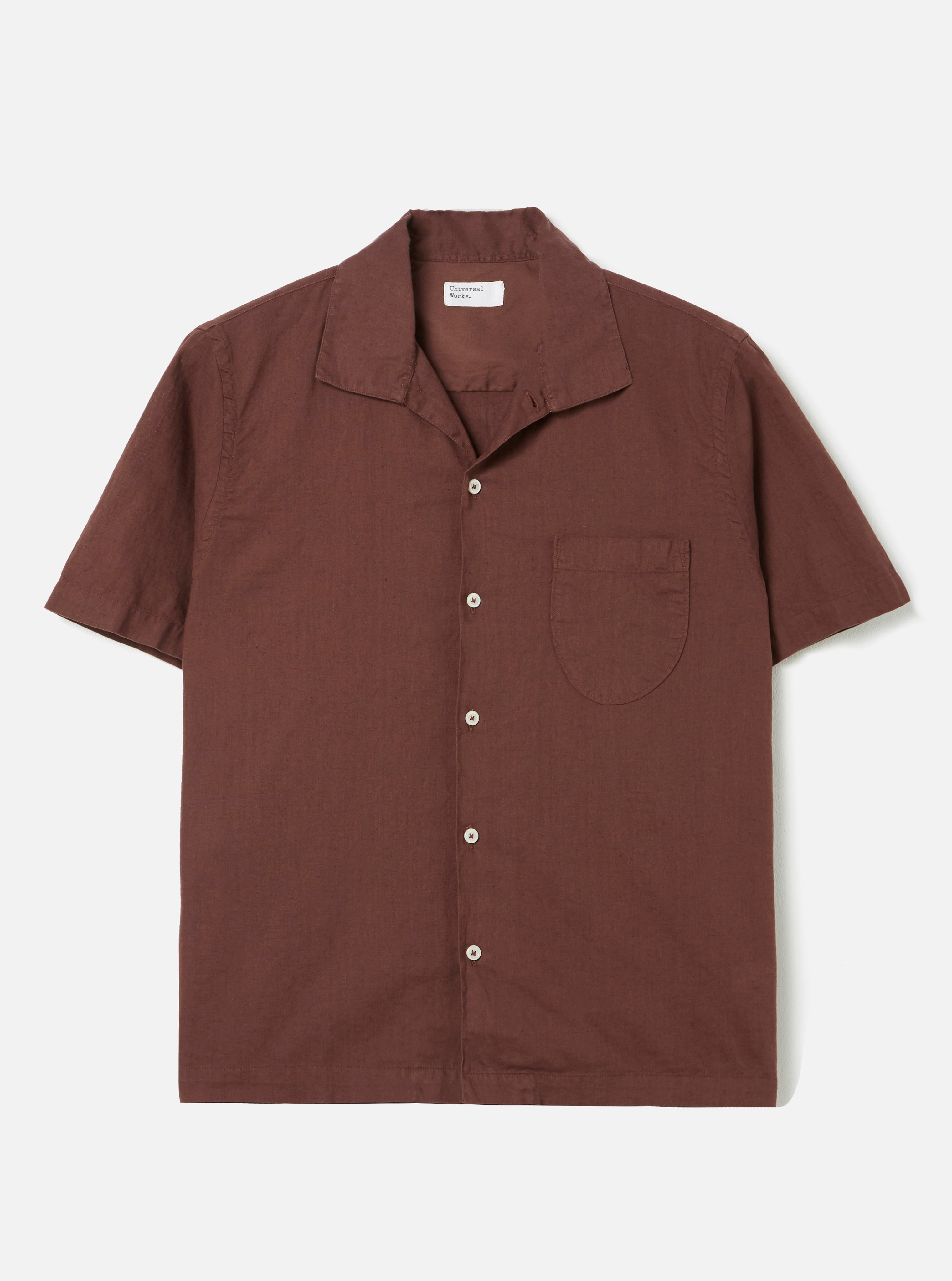 Universal Works Open Collar Shirt in Raisin Linen Shirting