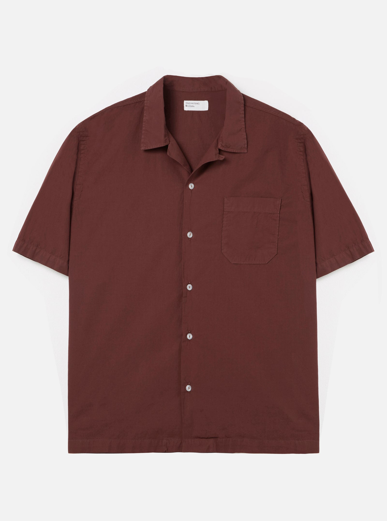 Universal Works Road Shirt in Raisin Poplin