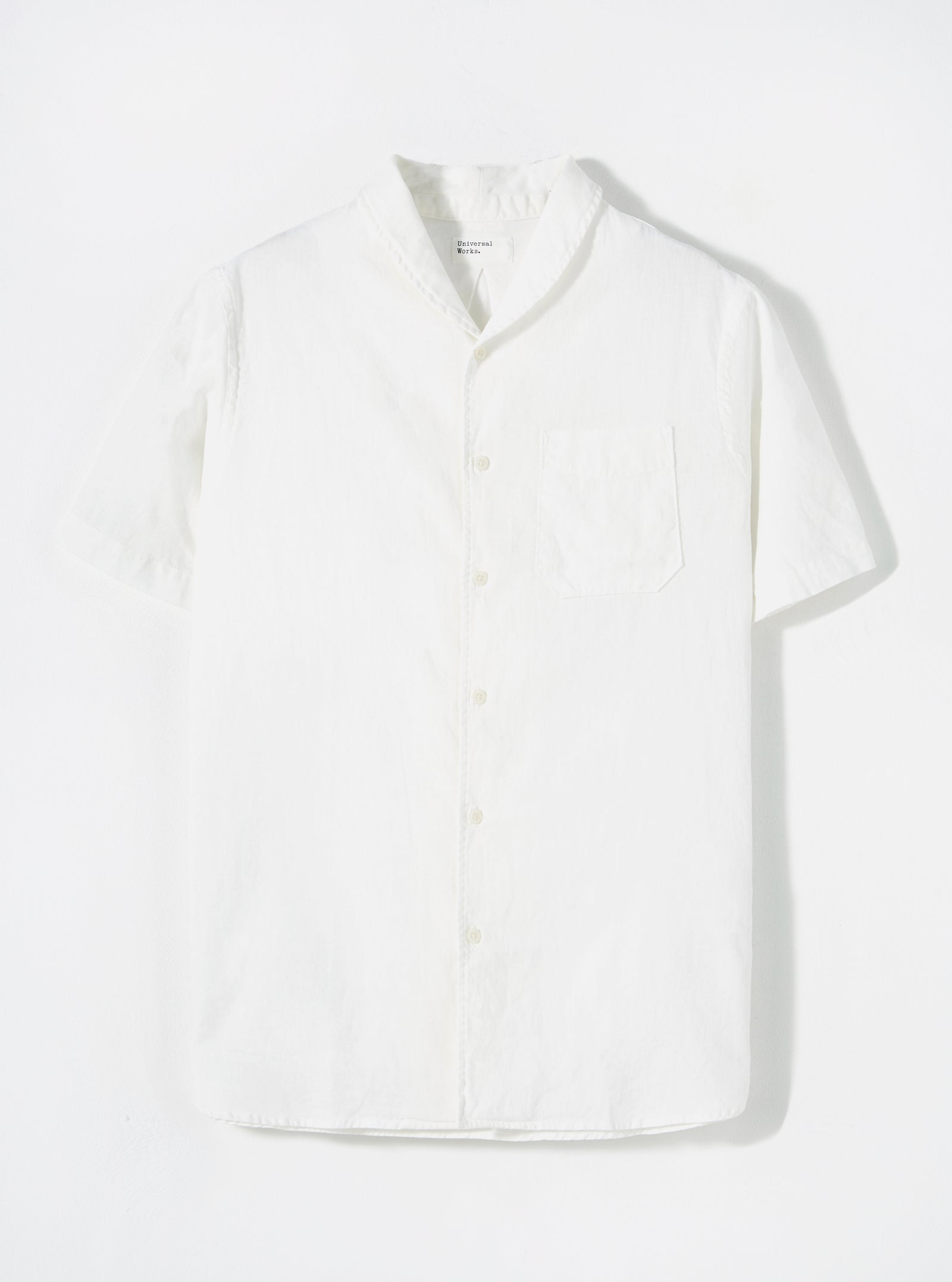 Universal Works Shawl Collar Shirt in Ecru Linen Shirting
