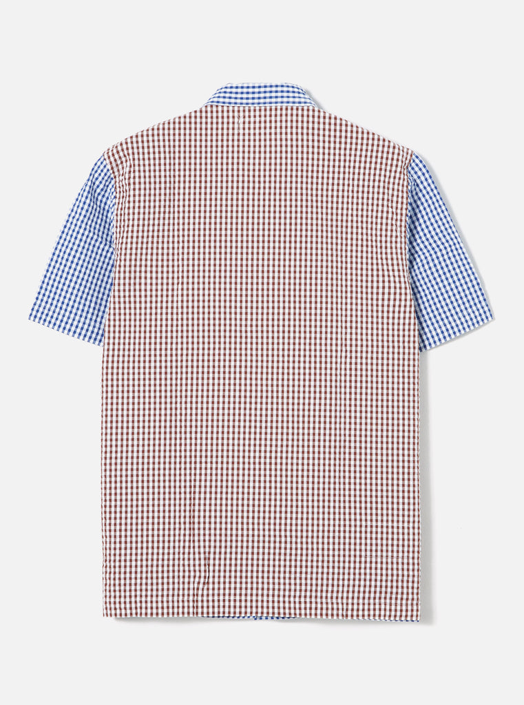 Universal Works Road Shirt in Blue/Brown Gingham Seersucker