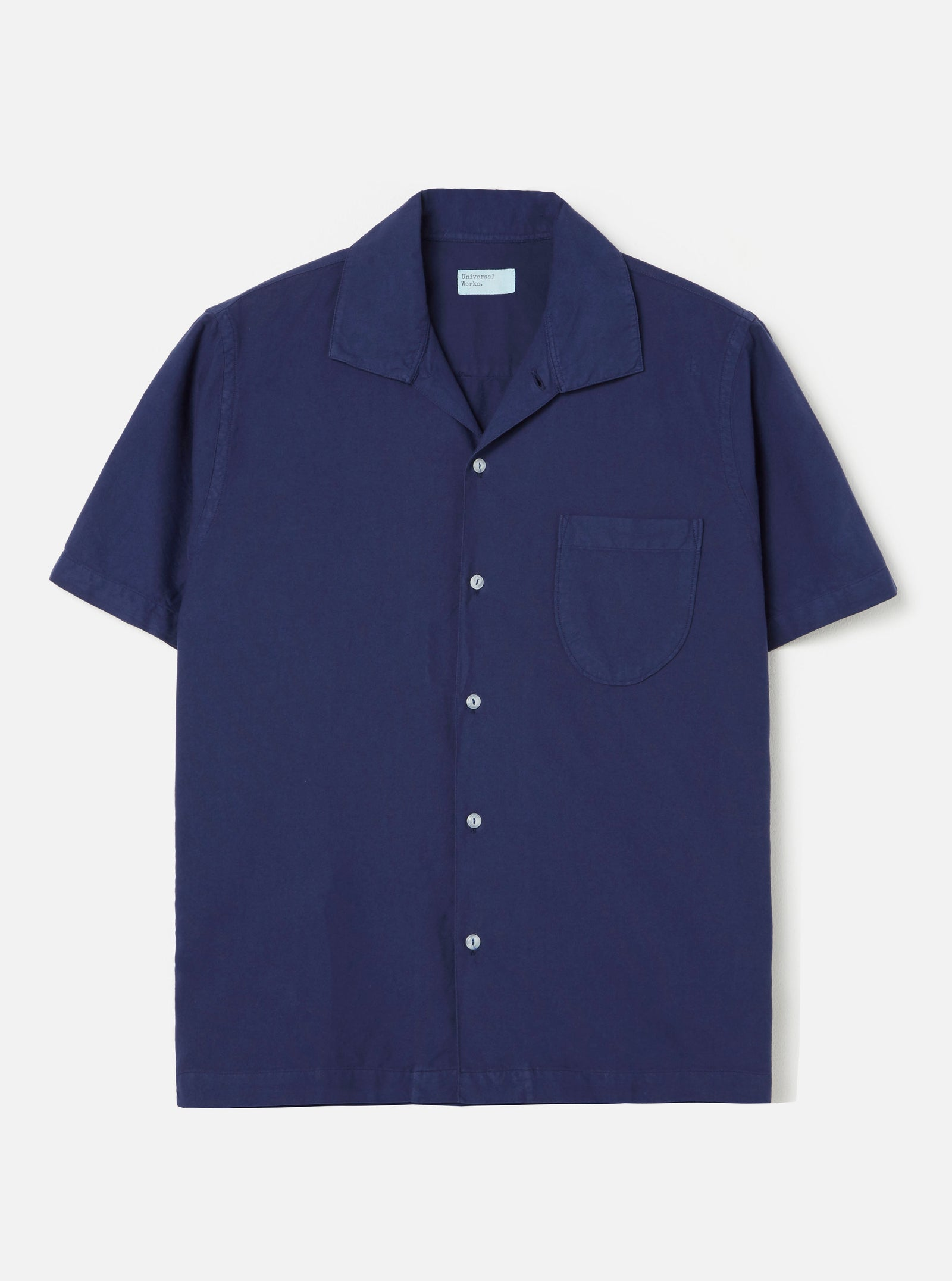 Universal Works Open Collar Shirt in Blueprint Oxford