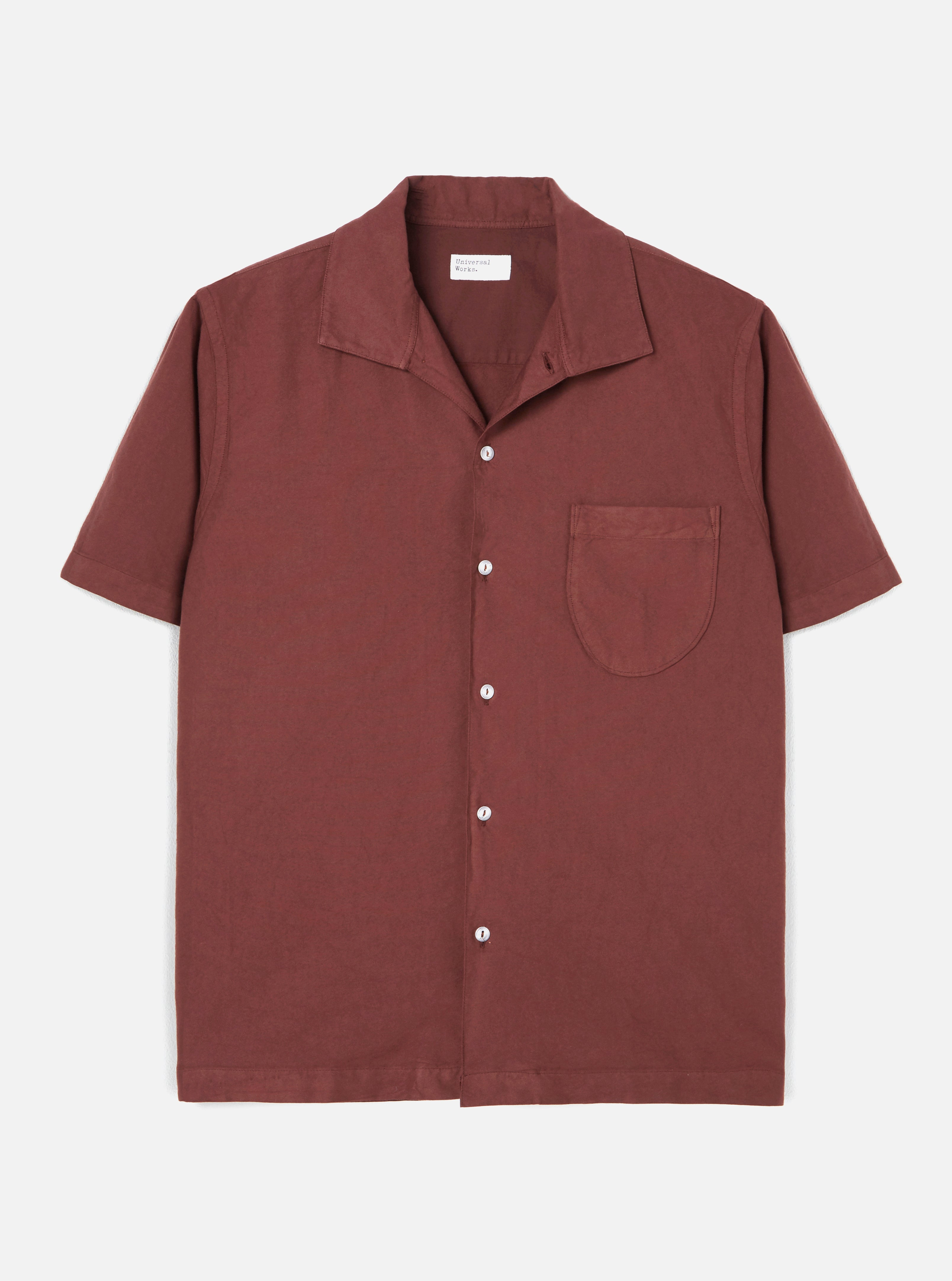Universal Works Open Collar Shirt in Raisin Oxford