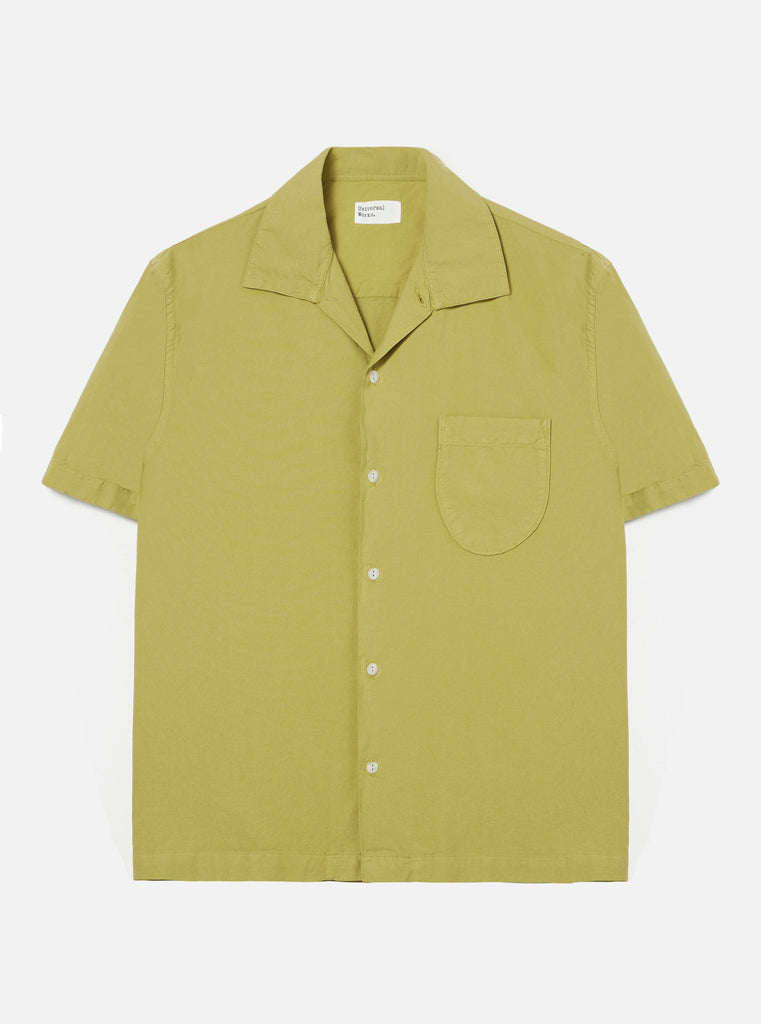 Universal Works Open Collar Shirt in Tea Oxford