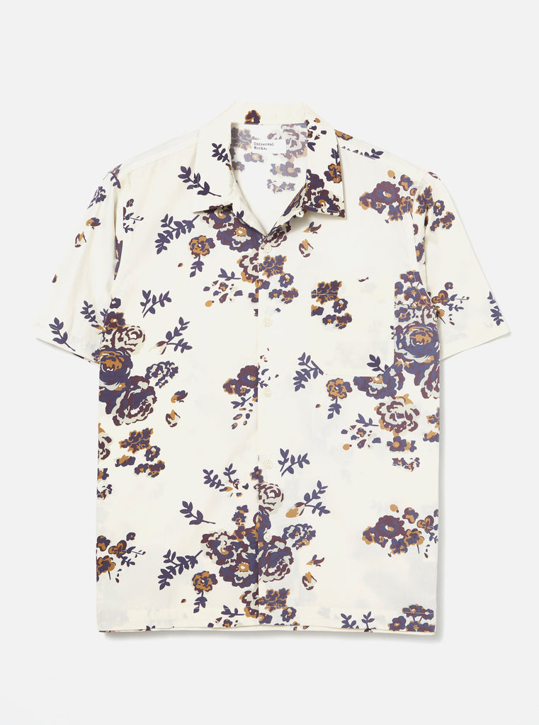 Universal Works Road Shirt in Ecru Flower Print Poplin