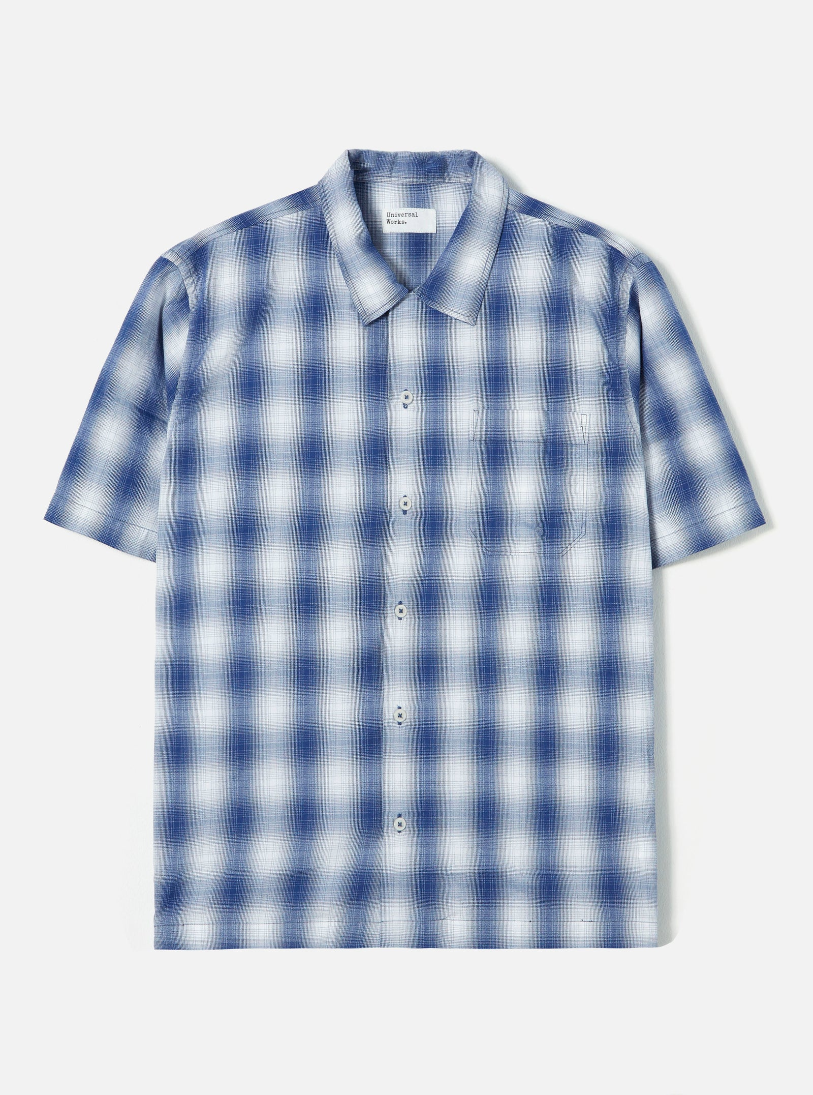 Universal Works Road Shirt in Navy Pepper Cotton