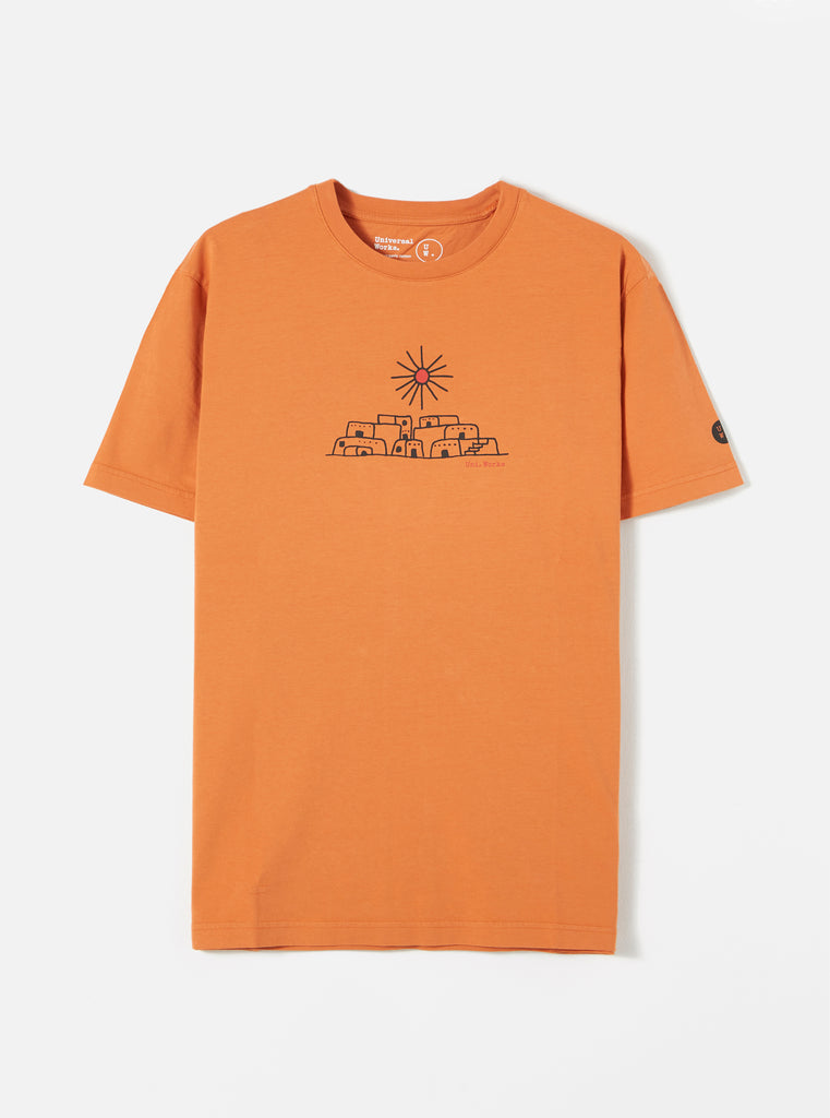 Universal Works Organic Standard Tee in Orange Adobe Print Jersey