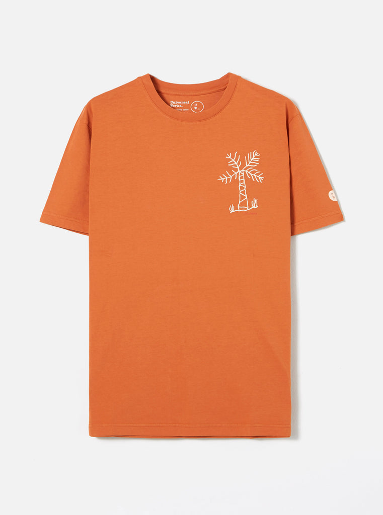 Universal Works Organic Standard Tee in Orange Palm Print Jersey