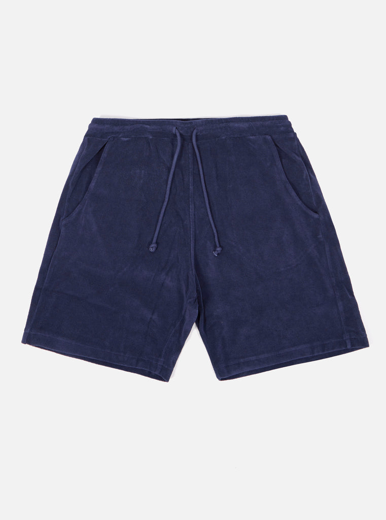 Universal Works Beach Short in Navy Terry Fleece