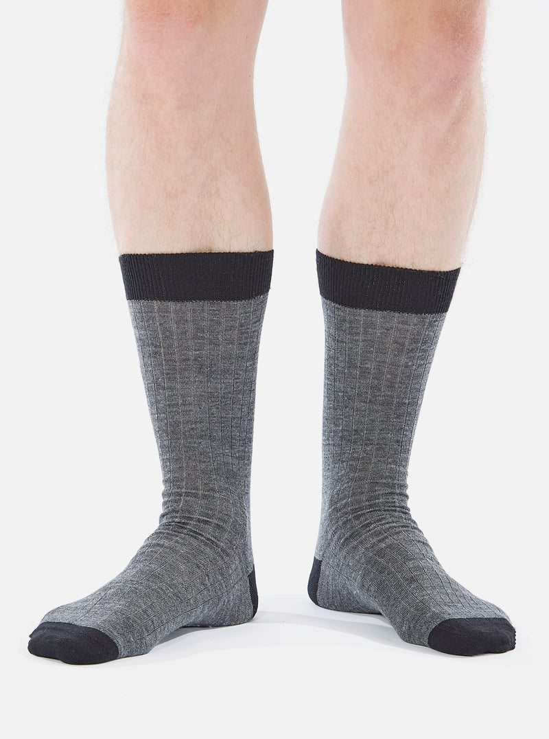 Universal Works Merino Classic Sock in Grey Marl Merino