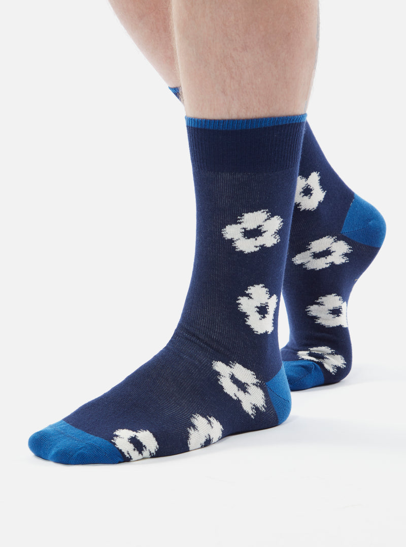 Universal Works 3 Pack Flower Sock in Navy Cotton Jacquard