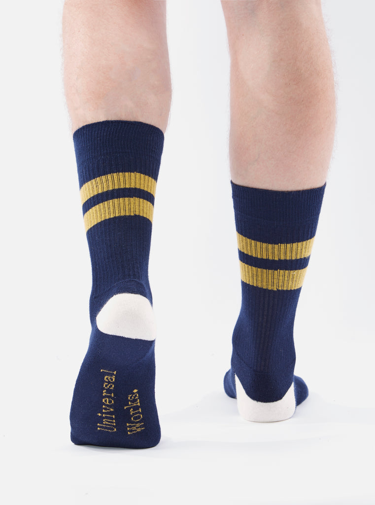 Universal Works Sport Sock in Navy/Yellow Cotton Rib