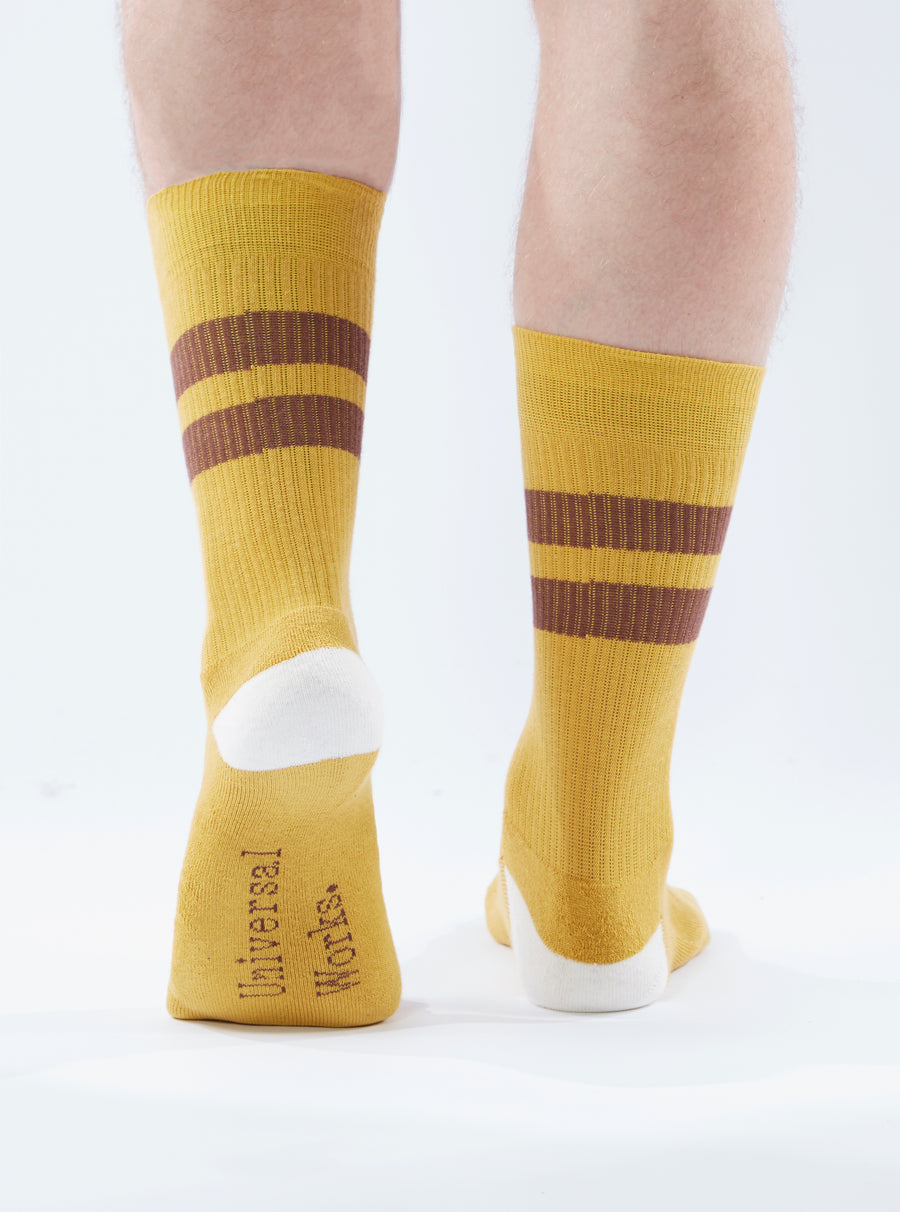 Universal Works Sport Sock in Yellow/Raisin Cotton Rib