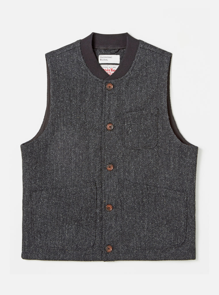 Universal Works Chore Waistcoat in Charcoal Harris Tweed