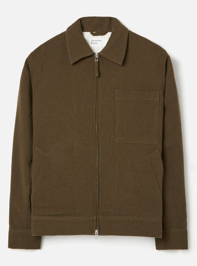 Universal Works Rose Bowl Jacket in Olive Samoa Wool