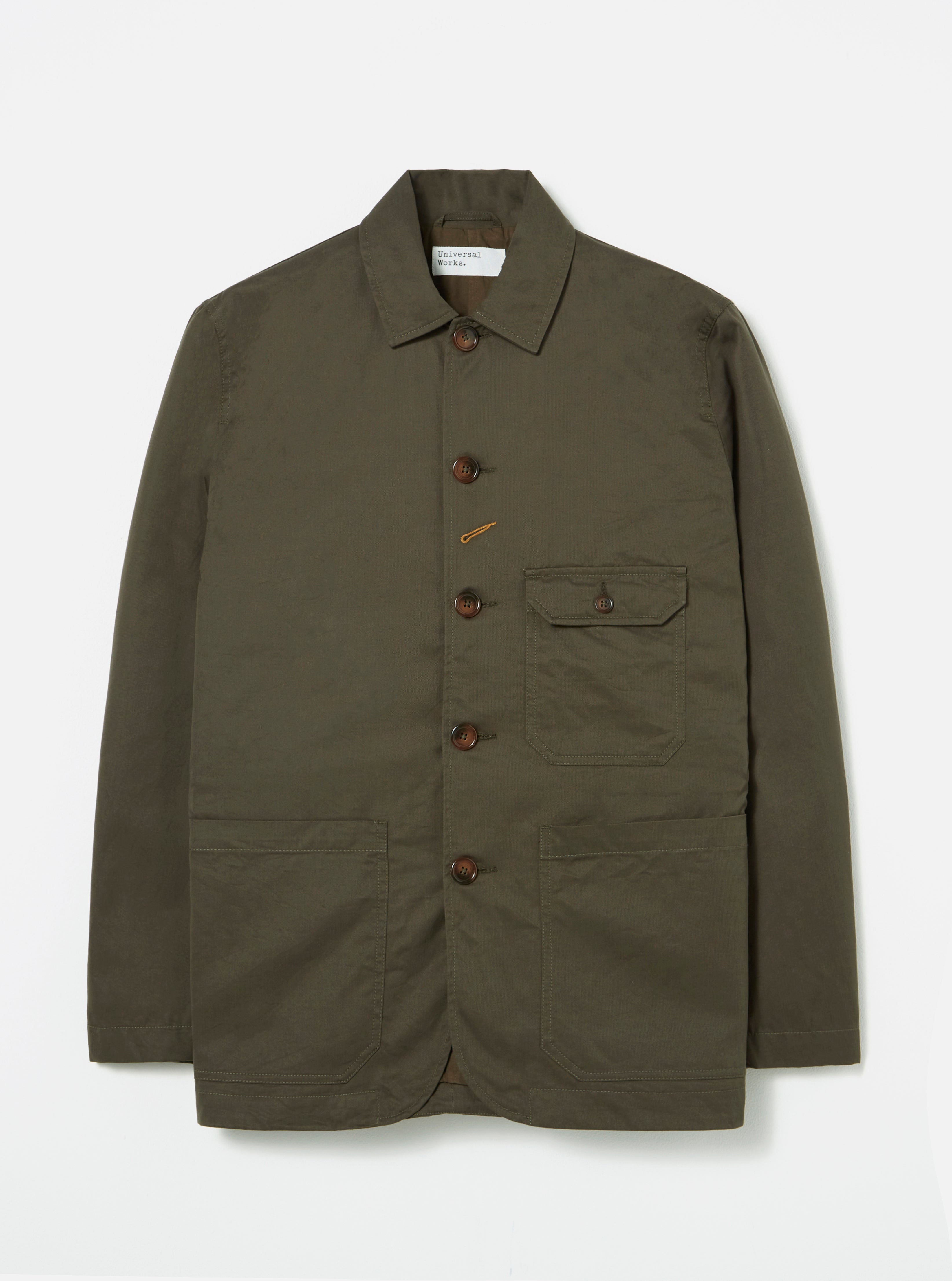 Universal Works Norfolk Bakers Jacket in Olive Gin Cotton