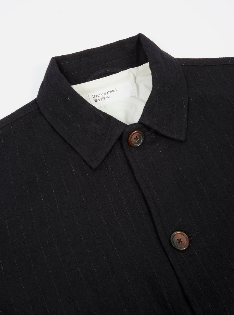 Universal Works Watchman Jacket in Black Brushed Wool Stripe