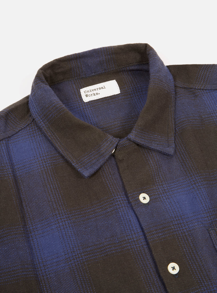 Universal Works Garage Shirt in Navy Japanese Check