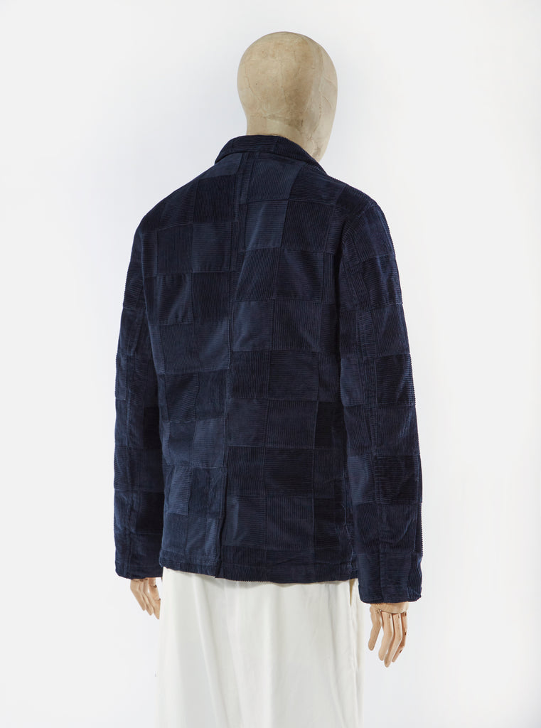 Universal Works Barra Jacket in Navy Patchwork Cord