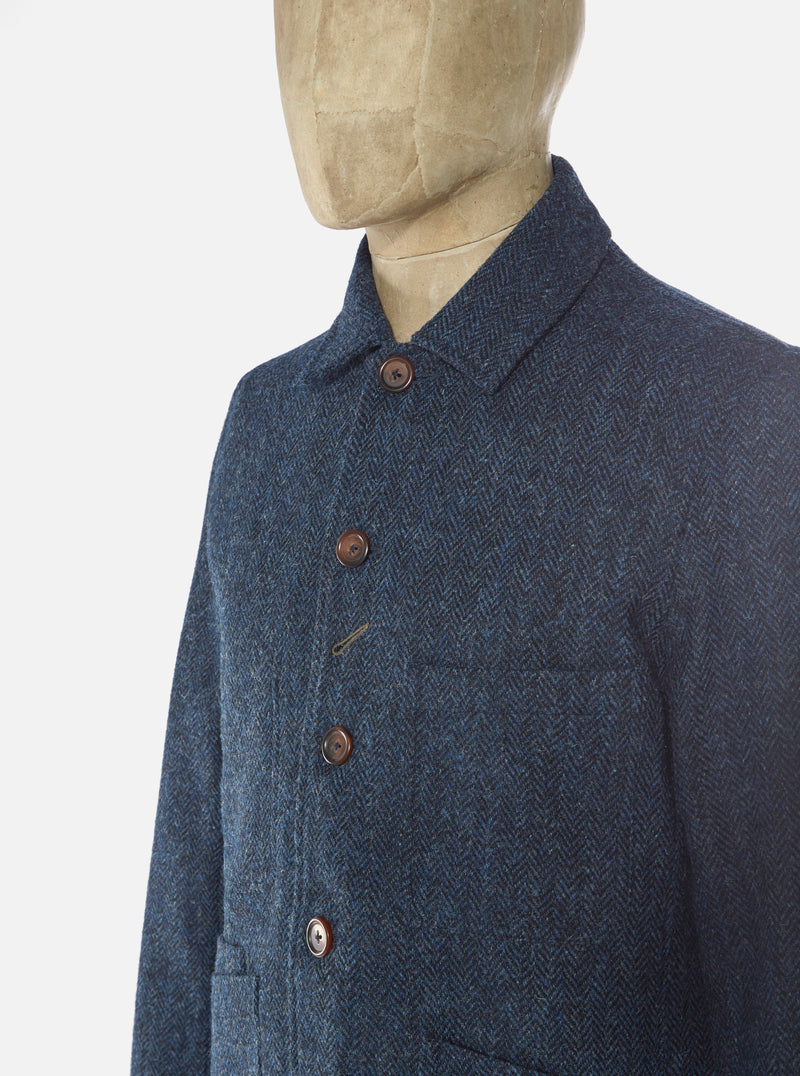 Universal Works Bakers Jacket in Navy Herringbone Harris Tweed