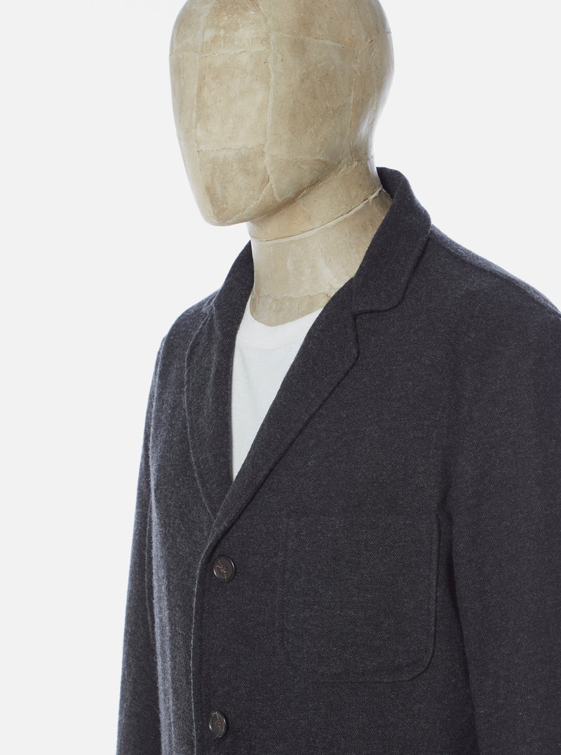 Universal Works Three Button Jacket in Charcoal Wool Marl II
