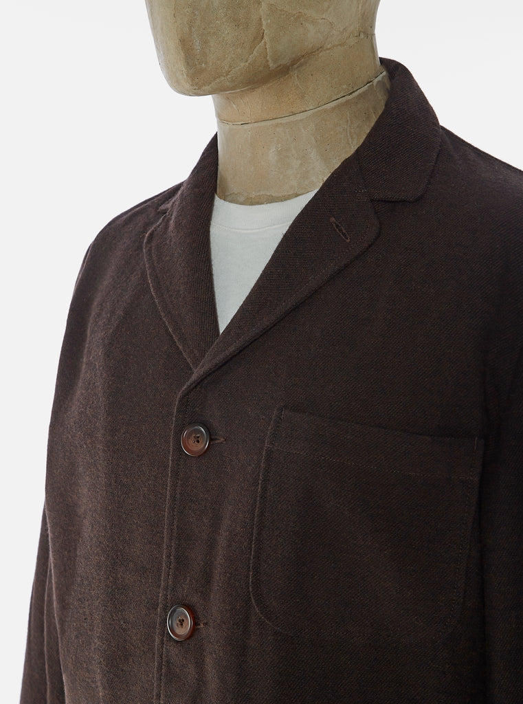 Universal Works Three Button Jacket in Chocolate Wool Marl II