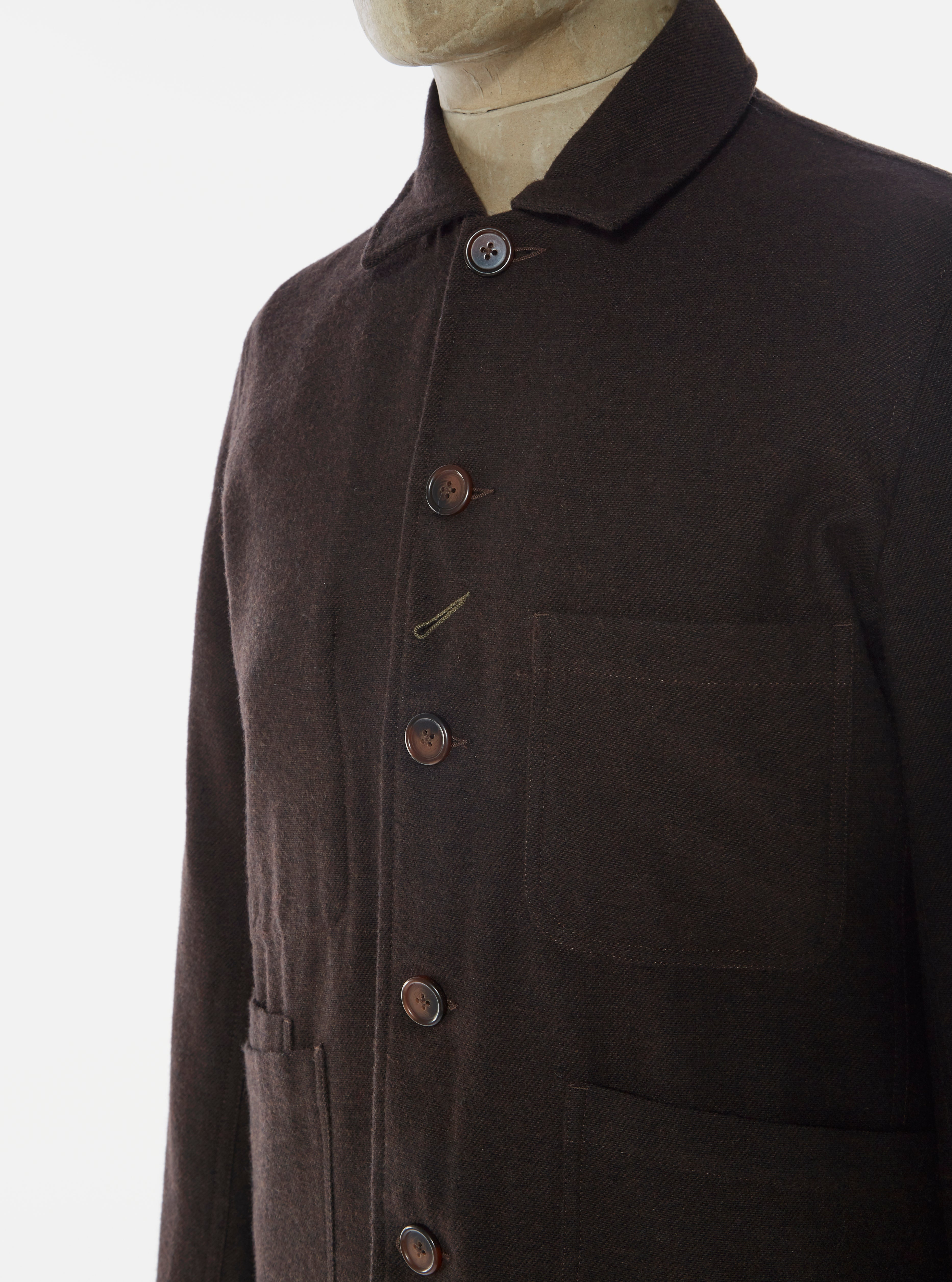 Universal Works Bakers Jacket in Chocolate Wool Marl II