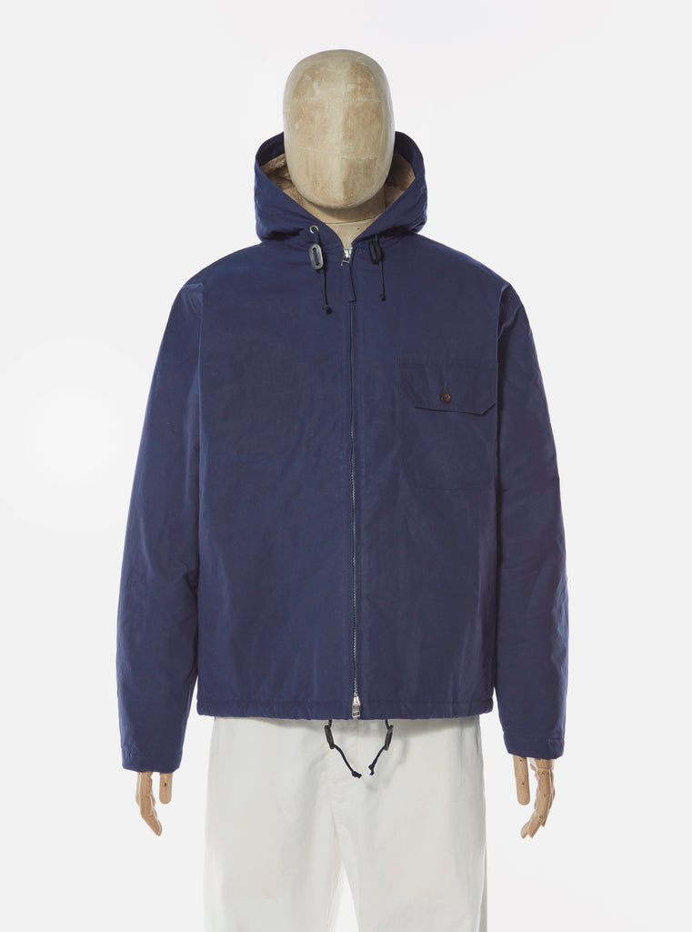 Universal Works Lined Fistral Jacket in Navy Scottish Wax Cotton