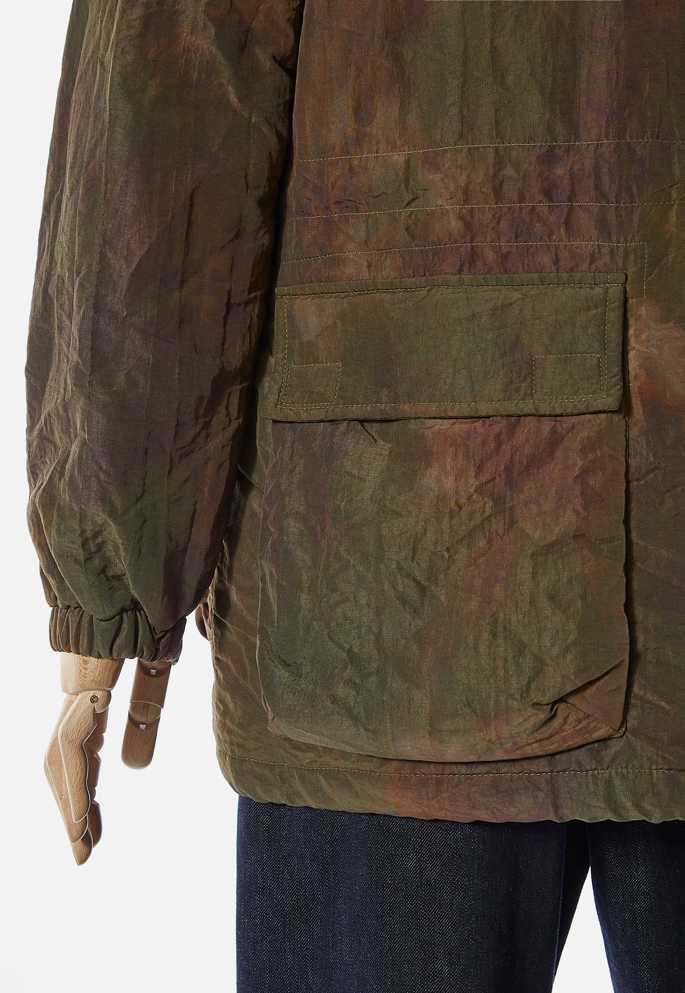 Universal Works Padded Short Parka in Olive Space Dye Nylon