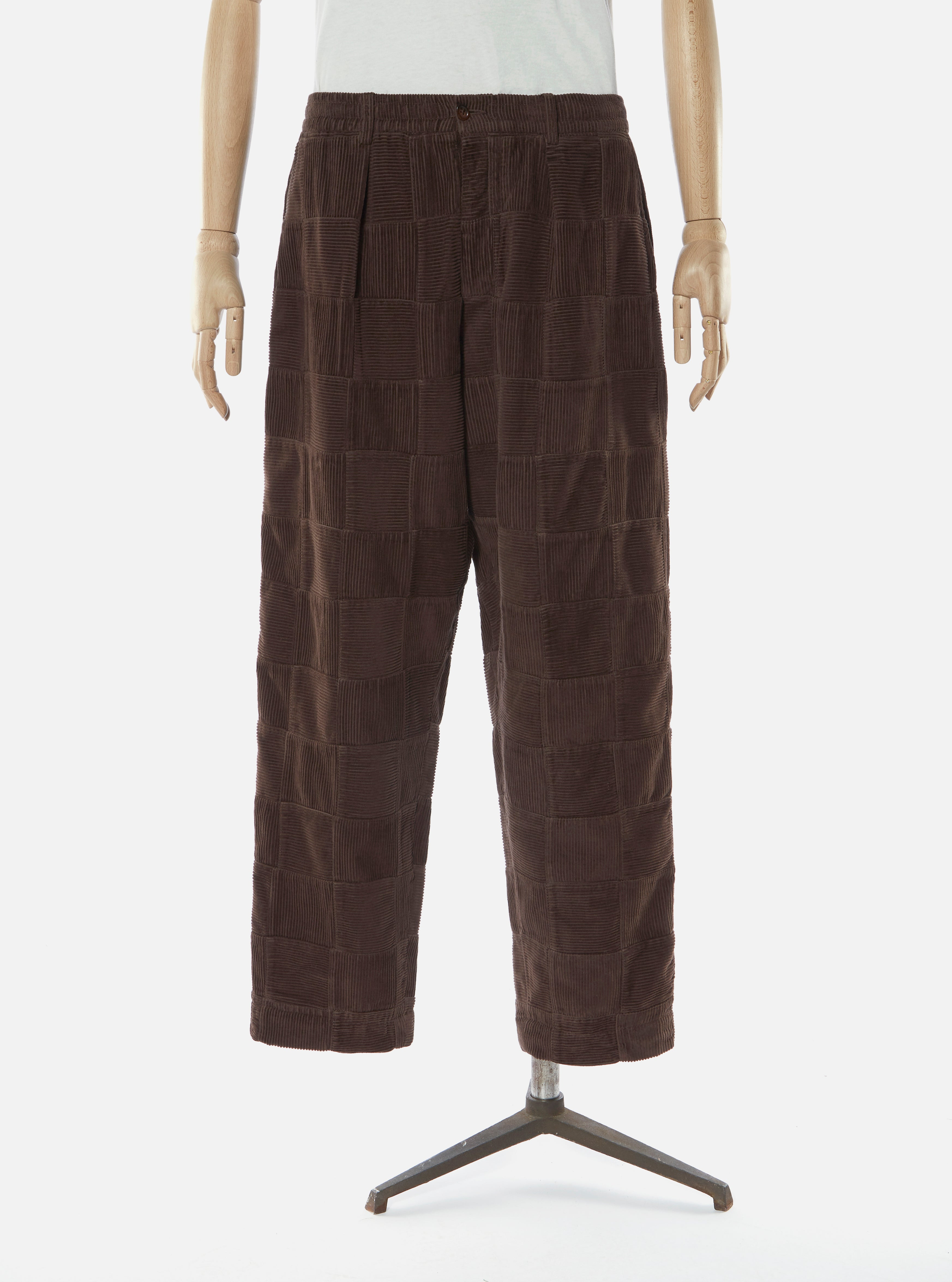 Universal Works Pleated Track Pant in Chocolate Patchwork Cord