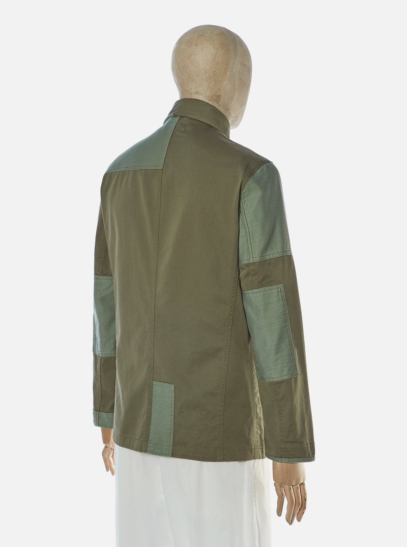 Universal Works Patched Mill Bakers Jacket in Light Olive/Olive Twill Mix
