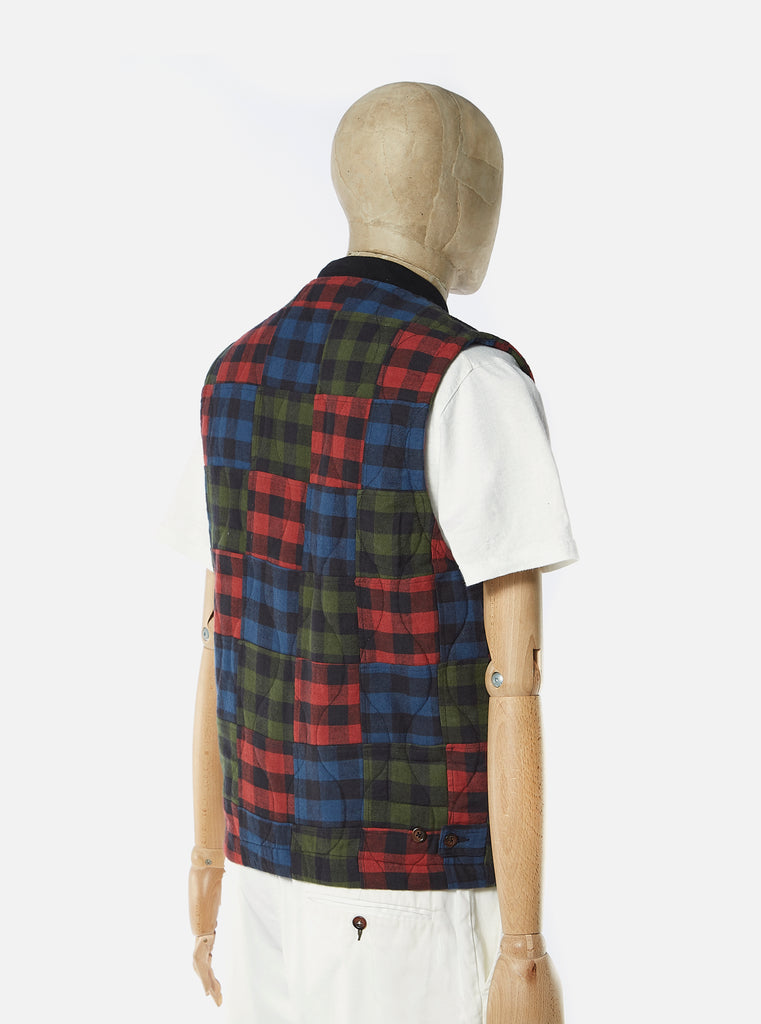 Universal Works Carlton Gilet in Multi Brushed Patchwork