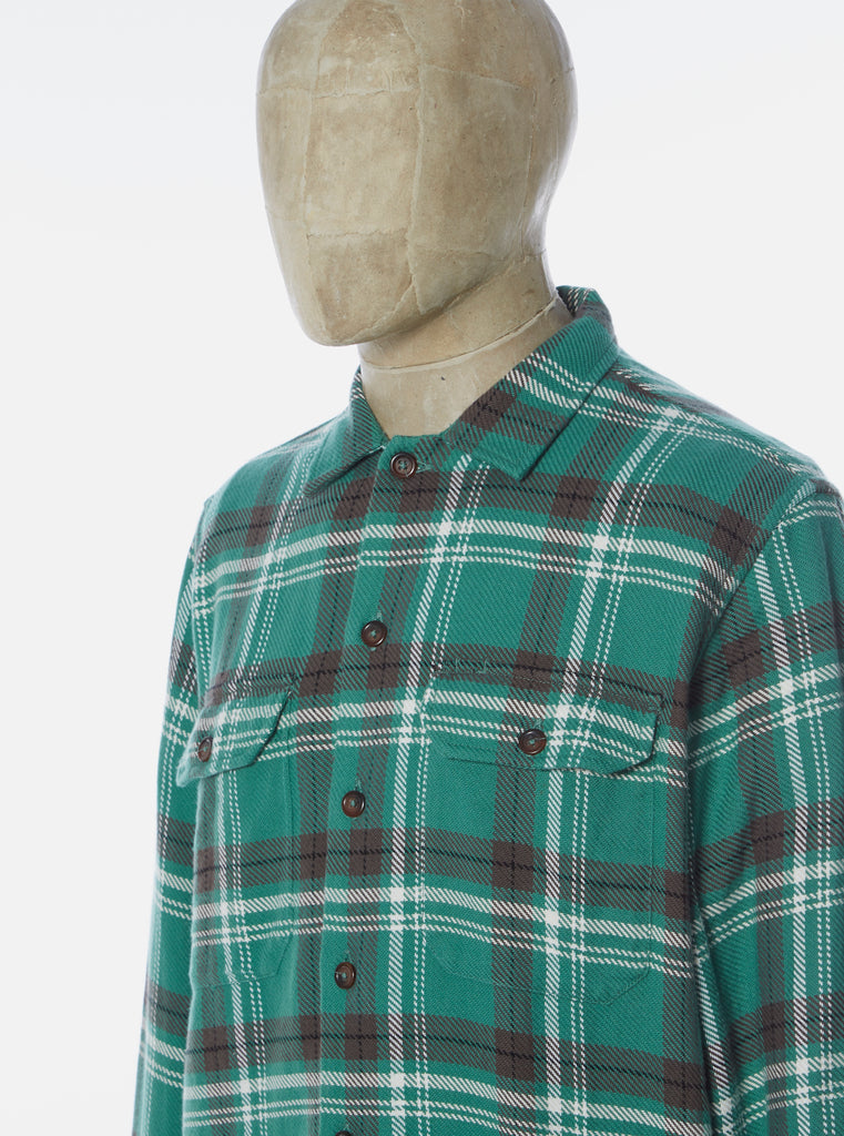 Universal Works L/S Utility Shirt in Green Heavy Check