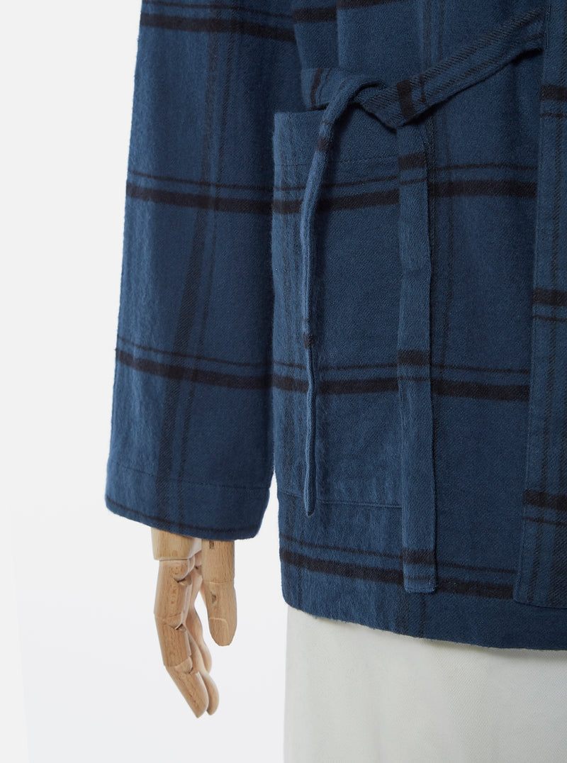 Universal Works Kyoto Work Jacket in Blue Brushed Check 58