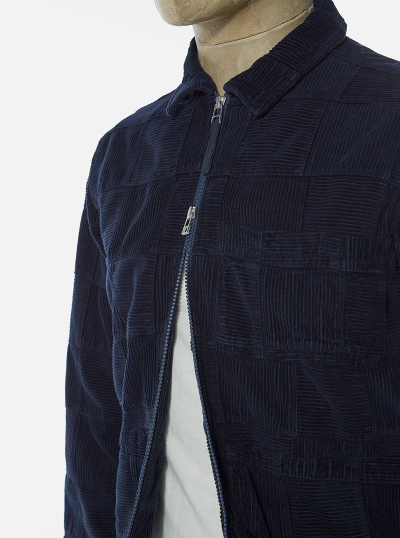 Universal Works Zip Uniform Jacket in Navy Patchwork Cord