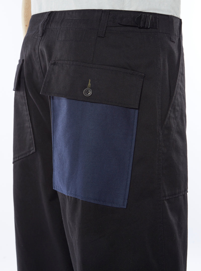 Universal Works Patched Mill Fatigue Pant in Black/Navy Twill Mix