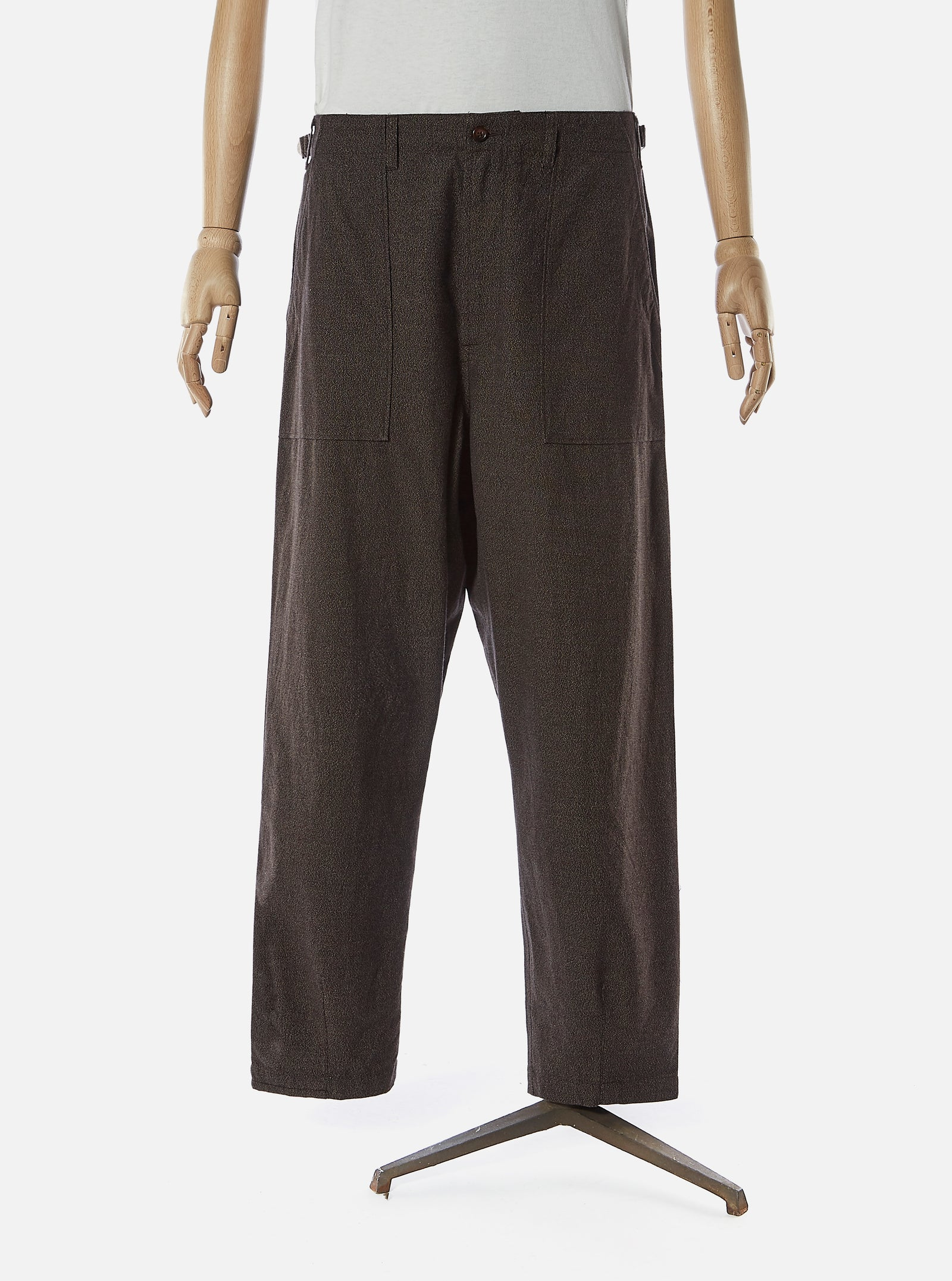 Universal Works Patched Mill Fatigue Pant in Chocolate Subalpino Cotton