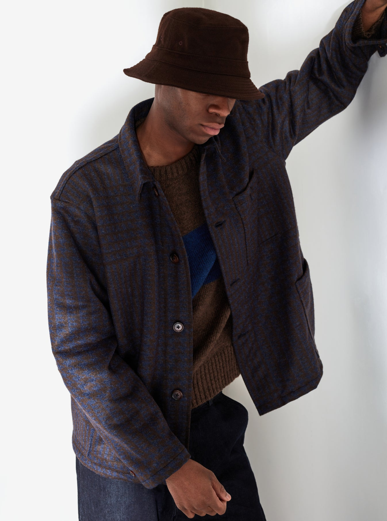 Universal Works Labour Jacket in Chocolate/Blue Prince Wool