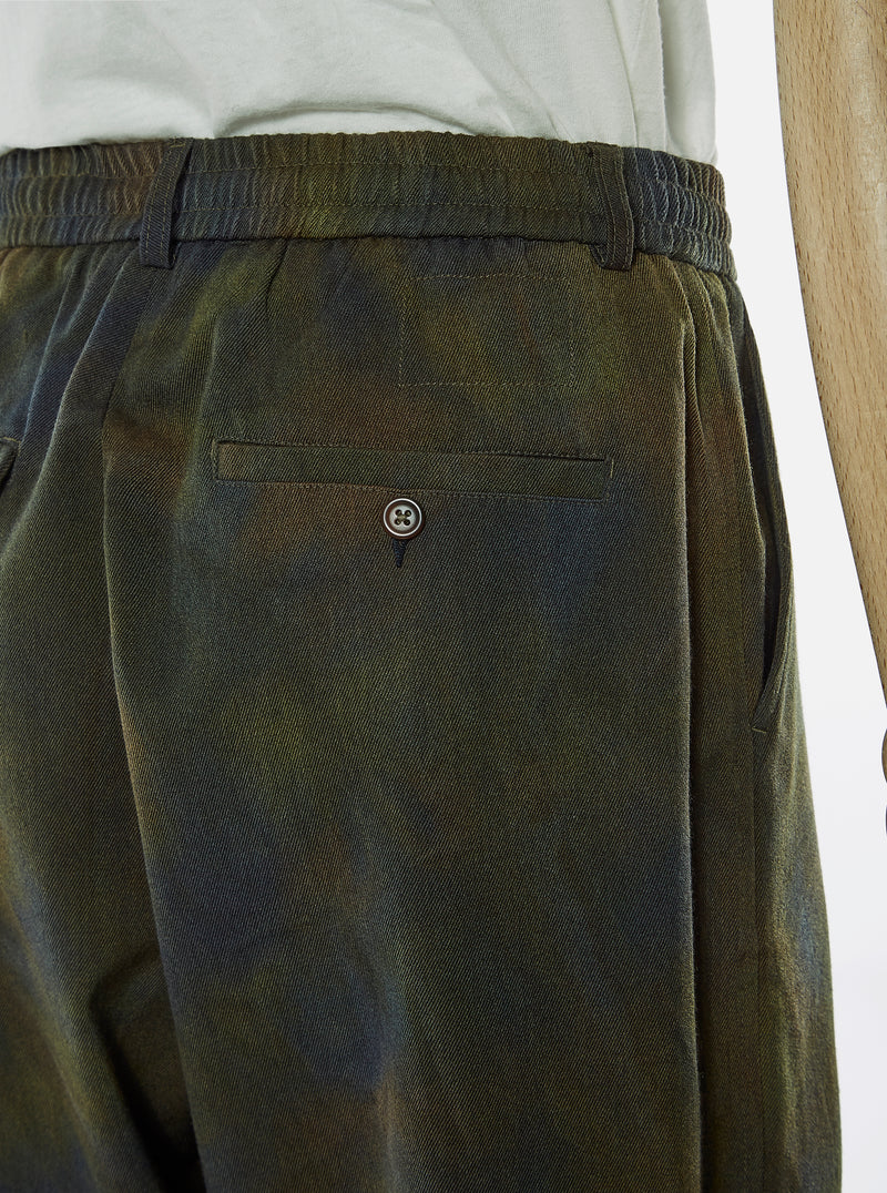 Universal Works Pleated Track Pant in Olive Space Dye Wool