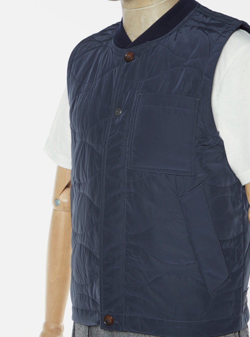 Universal Works Carlton Gilet in Navy Soft Memory Nylon