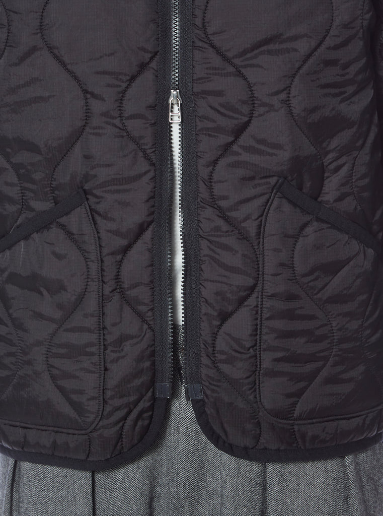 Universal Works Military Liner Jacket in Black Nylon Quilt