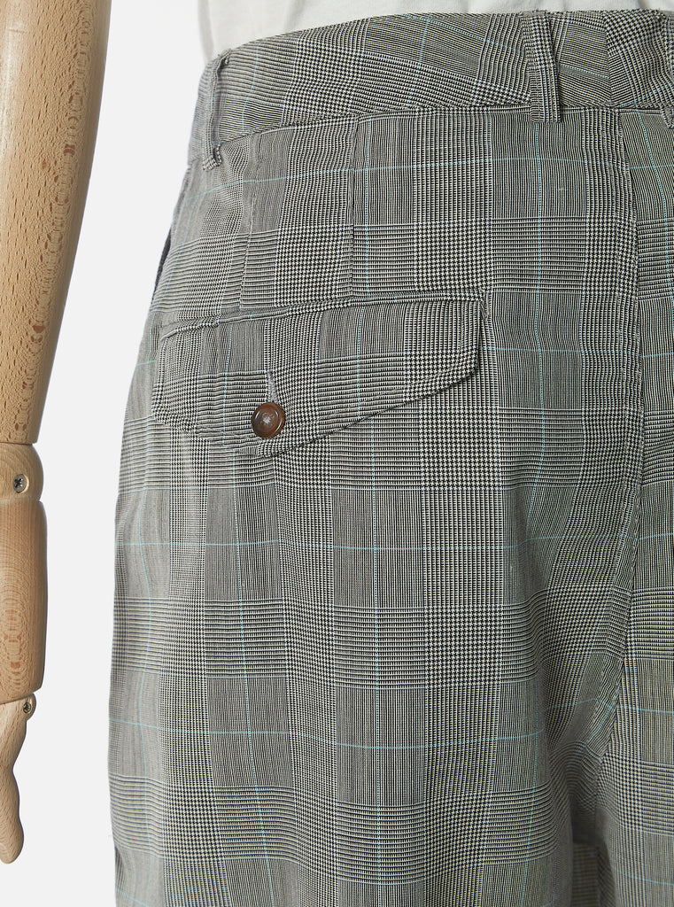 Universal Works Double Pleat Pant in Grey Wales Check
