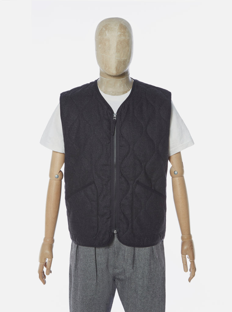 Universal Works Military Liner Gilet in Charcoal Amalfi