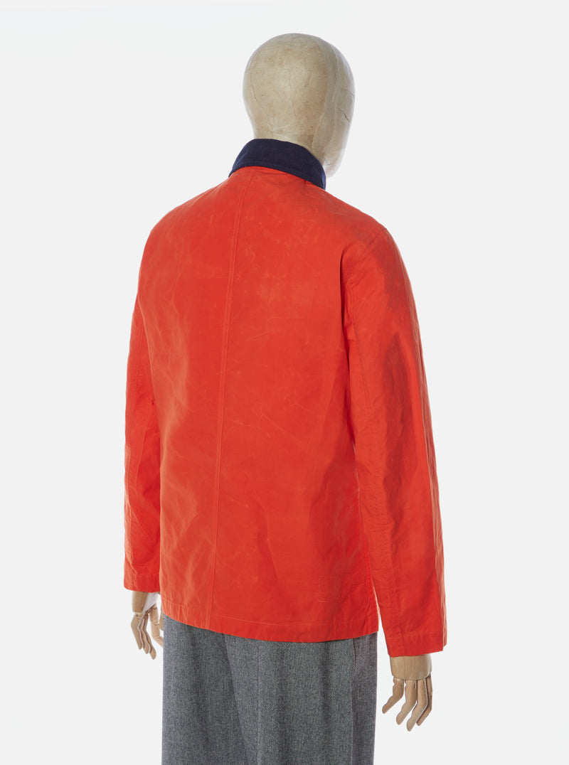 Universal Works Bakers Chore Jacket in Orange Aero Wax Cotton
