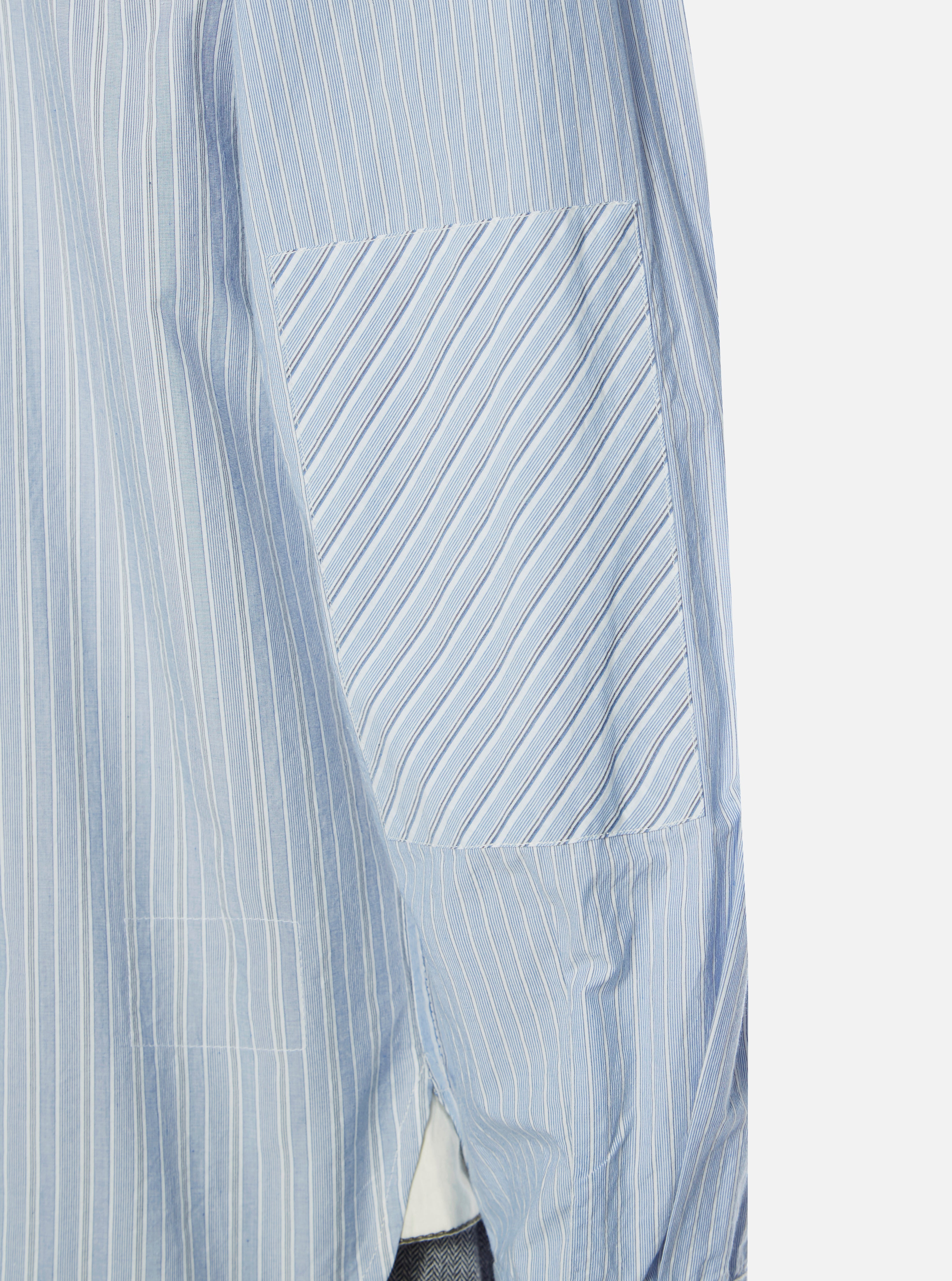 Universal Works New Standard Shirt in Blue Japanese Stripe