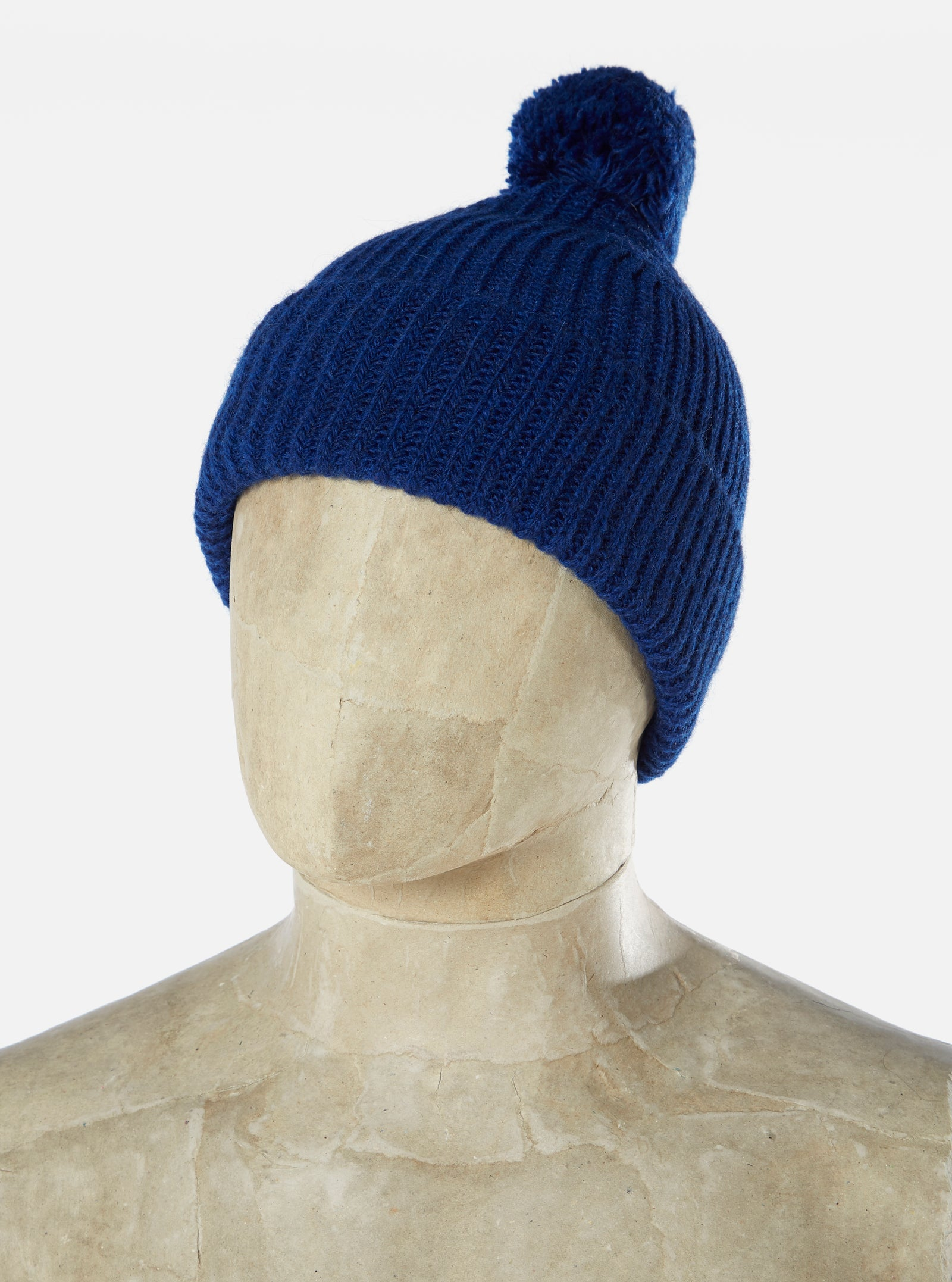 Universal Works Bobble Hat in Indigo Alpacawool