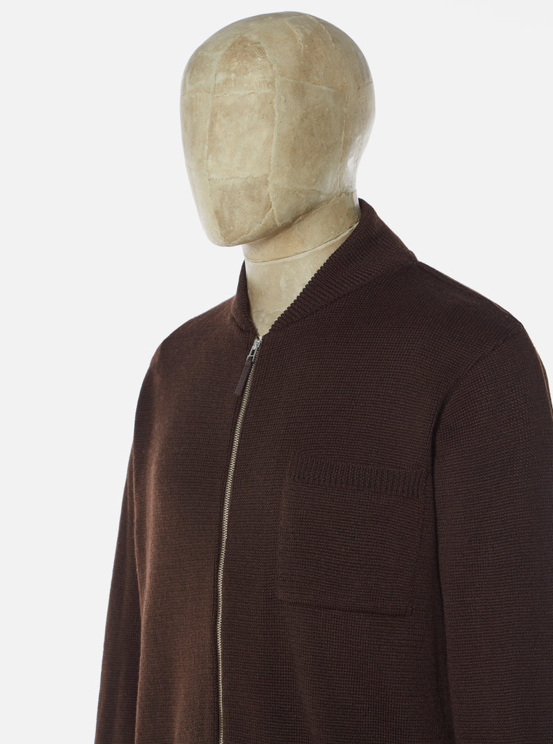 Universal Works Zip Knit Work Jacket in Chocolate Merino ½ Milano