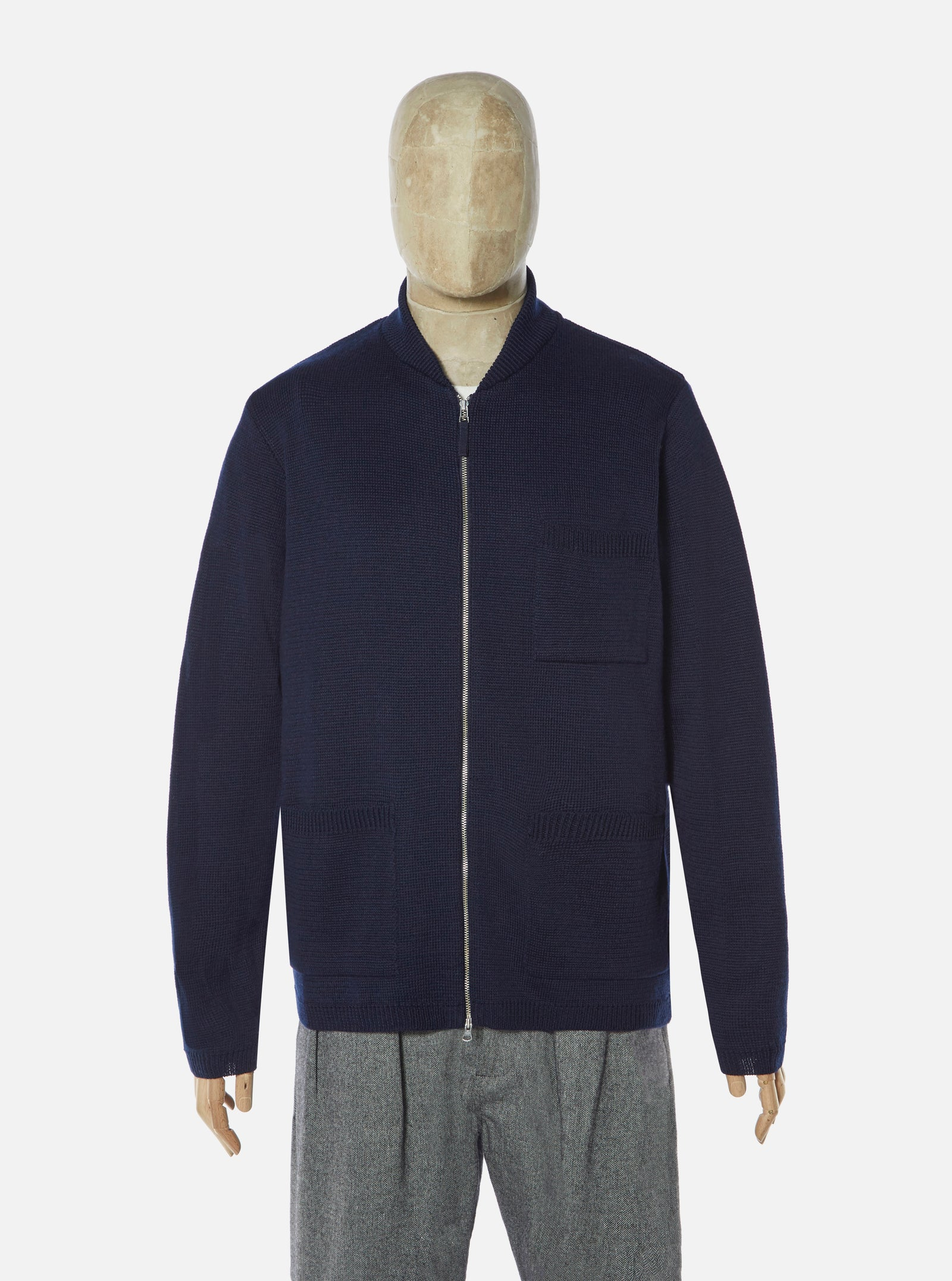 Universal Works Zip Knit Work Jacket in Navy Merino ½ Milano