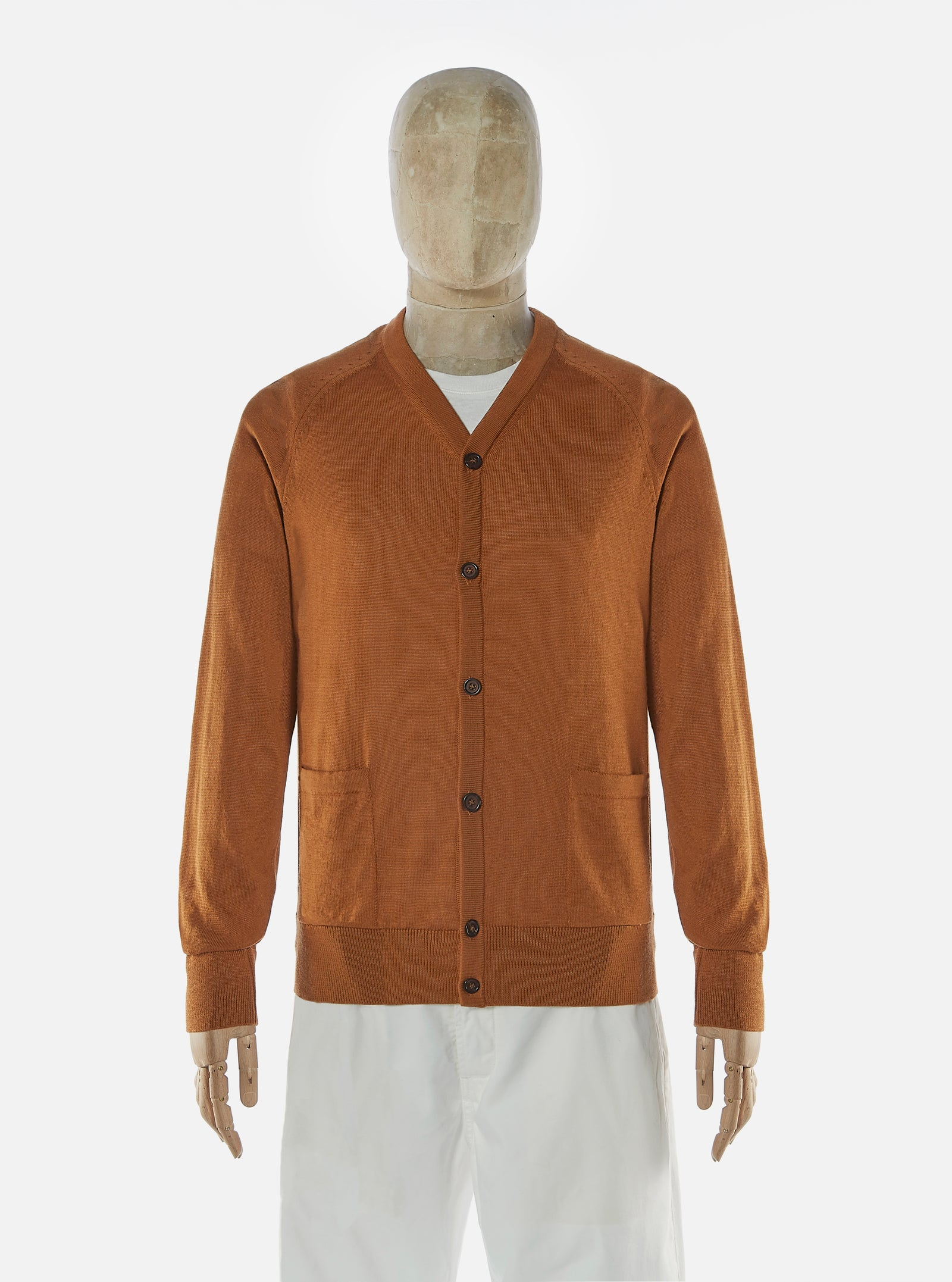 Universal Works Loose Cardigan in Caramel Merino Knit